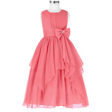 Custom Ball Gown Tea Length Chiffon Little Girls Party Dresses