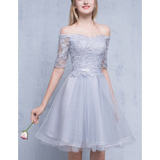 Elegant Off-the-shoulder Short Homecoming Dresses with Half Sleeves