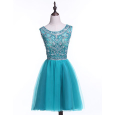 Discount A-Line Sleeveless Short Satin Rhinestone Homecoming Dresses