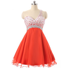 Affordable Empire One Shoulder Chiffon Rhinestone Homecoming Dresses