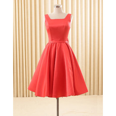 Elegant A-Line Square Knee Length Satin Homecoming/ Party Dresses