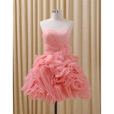 Custom Sweetheart Short Organza Ruffle Skirt Homecoming Dresses