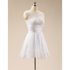 Discount Sleeveless Short Satin Organza Beading Homecoming Dresses