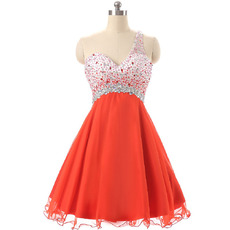 Discount One Shoulder Short Chiffon Rhinestone Homecoming Dresses