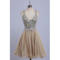 Custom V-Neck Mini/ Short Chiffon Rhinestone Homecoming Dresses