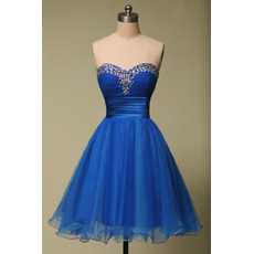 Inexpensive A-Line Sweetheart Mini/ Short Organza Homecoming Dresses