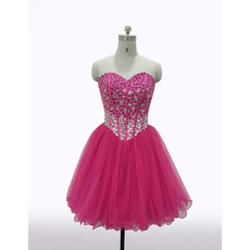 Custom Sheath Sweetheart Short Organza Rhinestone Homecoming Dresses