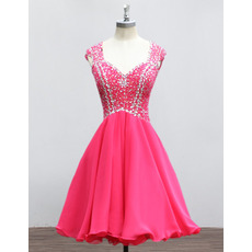 2018 New Sweetheart Mini/ Short Chiffon Rhinestone Homecoming Dresses
