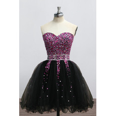 Custom Sweetheart Mini/ Short Rhinestone Black Homecoming Dresses