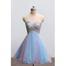 Affordable Sweetheart Mini/ Short Rhinestone Homecoming Dresses