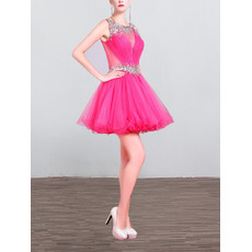 Sexy Sleeveless Mini/ Short Organza Homecoming/ Party Dresses