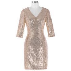Custom V-Neck Knee Length Sequin Mother Dresses with 3/4 Long Sleeves