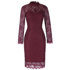 Mandarin Collar Knee Length Lace Mother Dresses with Long Sleeves