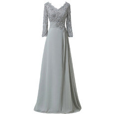 Elegant V-Neck Floor Length Chiffon Mother Dress with 3/4 Long Sleeves