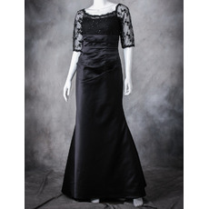 Affordable Floor Length Satin Black Mother Dresses with Half Sleeves