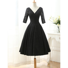 Elegant V-Neck Knee Length Lace Mother Dresses with Half Sleeves