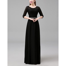 2018 Long Chiffon Lace Black Mother Dresses with 3/4 Long Sleeves