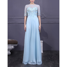 Discount Bateau Floor Length Organza Mother Dresses with Half Sleeves