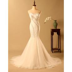Affordable Mermaid Sweetheart Long Lace Bodice Wedding Dresses