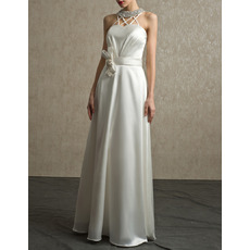 Custom Beading Neck Floor Length Satin Wedding Dresses with Straps