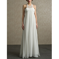 Sexy Column Halter Floor Length Chiffon Reception Wedding Dresses