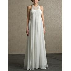 Sexy Column Halter Floor Length Chiffon Reception Wedding Dresses