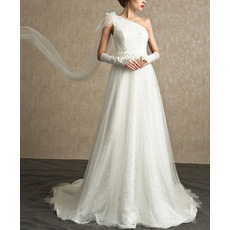 Custom One Shoulder Sweep Train Lace Organza Wedding Dresses
