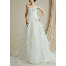 Discount Sweetheart Sweep Train Chiffon Layered Skirt Wedding Dresses