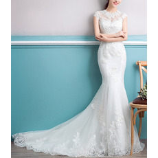 Inexpensive Sheath Court Train Organza Embroidery Wedding Dresses