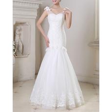 2017 New Style Mermaid V-Neck Floor Length Beading Wedding Dresses