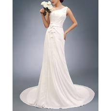 Discount One Shoulder Sleeveless Sweep Train Chiffon Wedding Dresses