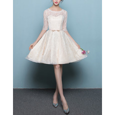 Vintage Knee Length Lace Reception Wedding Dresses with Half Sleeves