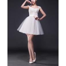 Custom A-Line Sweetheart Mini Satin Tulle Short Wedding Dresses