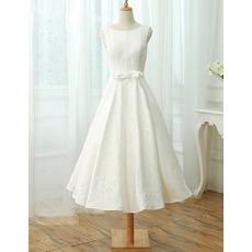 Custom A-Line Sleeveless Tea Length Lace Reception Wedding Dresses