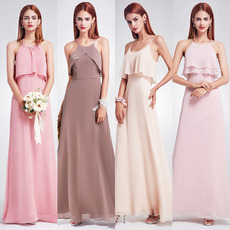 Affordable Spaghetti Straps Floor Length Chiffon Bridesmaid Dresses