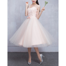 Affordable One Shoulder Knee Length Satin Tulle Bridesmaid Dresses