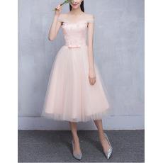 Elegant Off-the-shoulder Knee Length Satin Tulle Bridesmaid Dresses