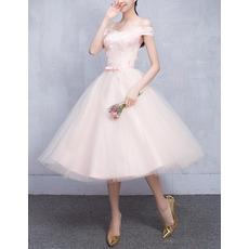 Custom Off-the-shoulder Knee Length Satin Tulle Bridesmaid Dresses