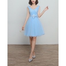 Discount V-Neck Knee Length Satin Tulle Lace-Up Bridesmaid Dresses