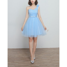 Vintage One Shoulder Knee Length Satin Tulle Bridesmaid Dresses