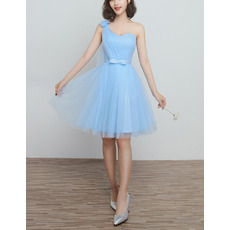 Custom One Shoulder Knee Length Satin Tulle Bridesmaid Dresses
