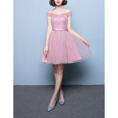 Inexpensive Strapless Sleeveless Short Satin Tulle Bridesmaid Dresses
