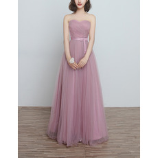 2018 New Sweetheart Floor Length Satin Tulle Bridesmaid Dresses