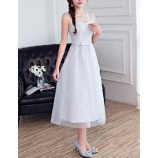 Elegant Sleeveless Tea Length Satin Tulle Bridesmaid Dresses