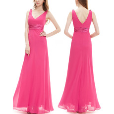 Custom V-Neck Sleeveless Floor Length Chiffon Bridesmaid Dresses