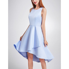 2018 New Style Asymmetric High-Low Satin Cocktail Party Dresses