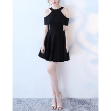 Custom Cap Sleeves Mini/ Short Satin Black Cocktail Party Dresses