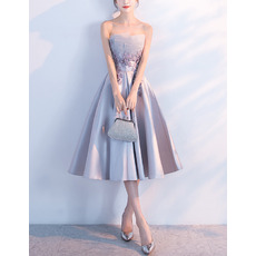Elegant A-Line Strapless Knee Length Satin Cocktail Party Dresses
