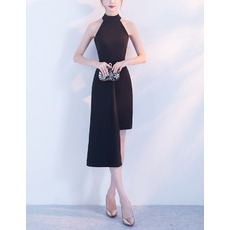 Discount Halter Mini/ Short Satin Black Cocktail Party Dresses