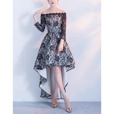 2018 Off-the-shoulder High-Low Lace Cocktail Dresses with Long Sleeves